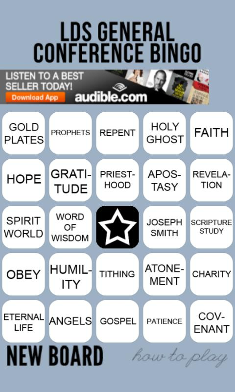 General Conference Bingo - screenshot