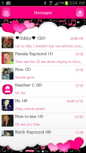 GO SMS - Dazzling Hearts 6