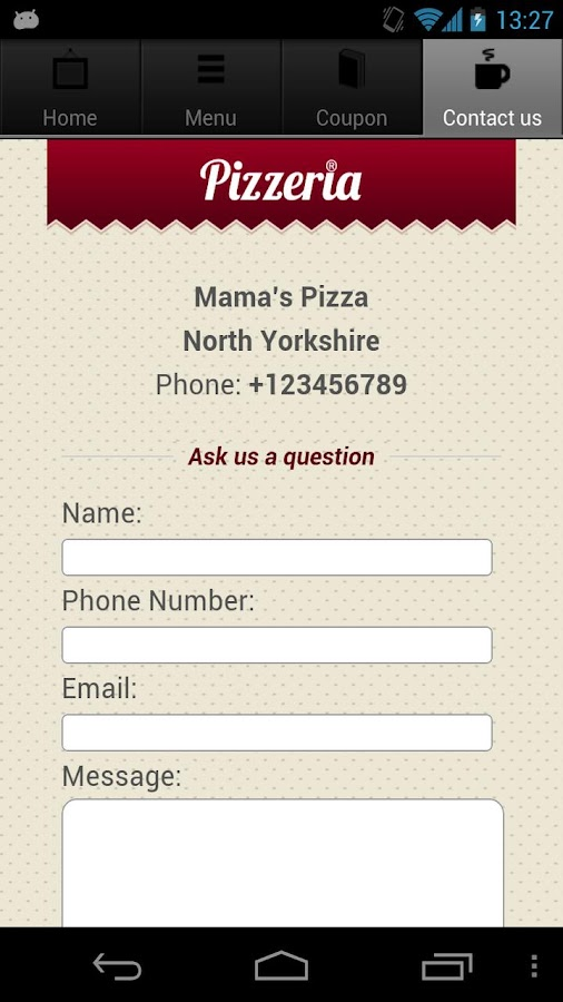 Pizza Restaurant App - screenshot