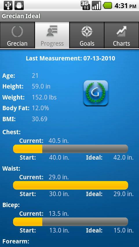 Grecian Ideal Body Tracker - screenshot