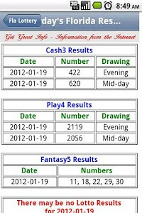 Florida Lottery Results screenshot 1