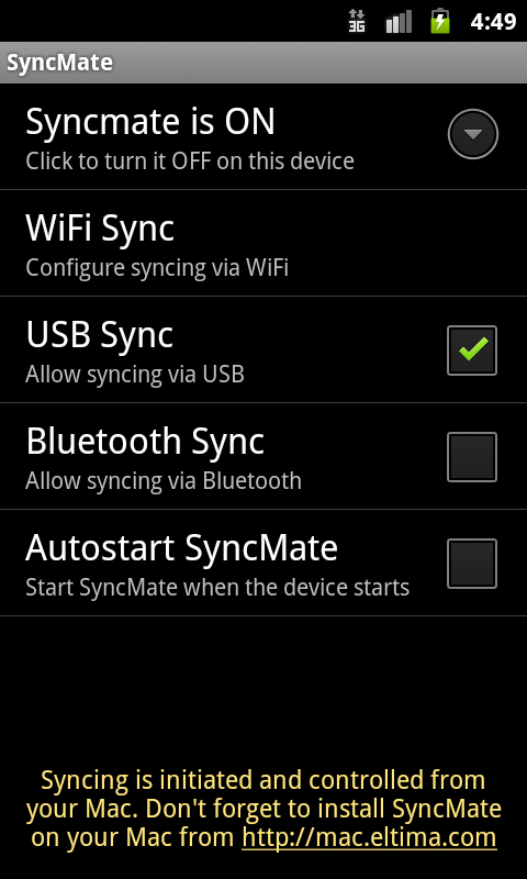 SyncMate for Android- screenshot
