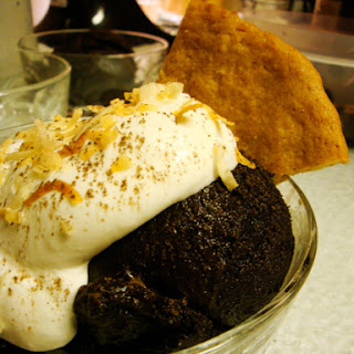 Dark Chocolate Coffee Sorbet w/ Coconut Cream and Toasted Coconut Snap Cookie