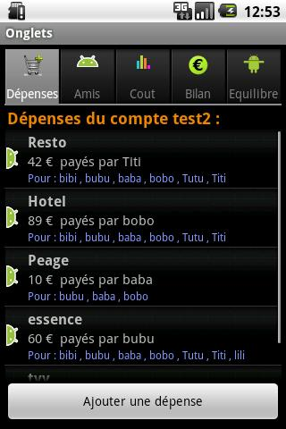 Comptes Amis- screenshot