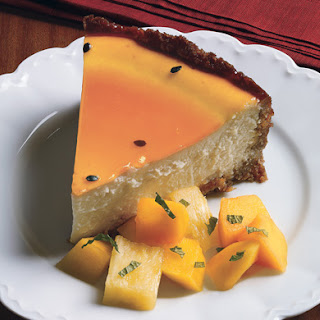Coconut Cheesecake with Passion Fruit Glaze.
