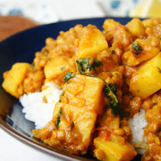 Indian Red Lentil And Potato Dhal.