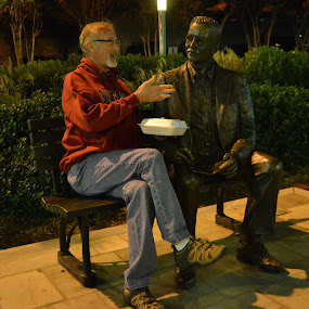 A One-Sided Conversation by Kathleen Koehlmoos - City,  Street & Park  City Parks ( park bench statues, greenville, park bench, park statues, south carolina, city park statues,  )