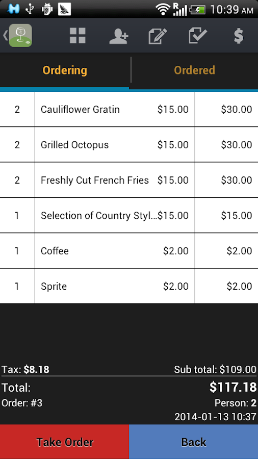 W&O Restaurant POS - screenshot