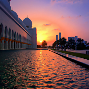 Grand Mosque sunset by Braggart Reigh - Buildings & Architecture Places of Worship ( buildings and architecture, public and historical, sunset, parks, place of worship, other exteriors,  )