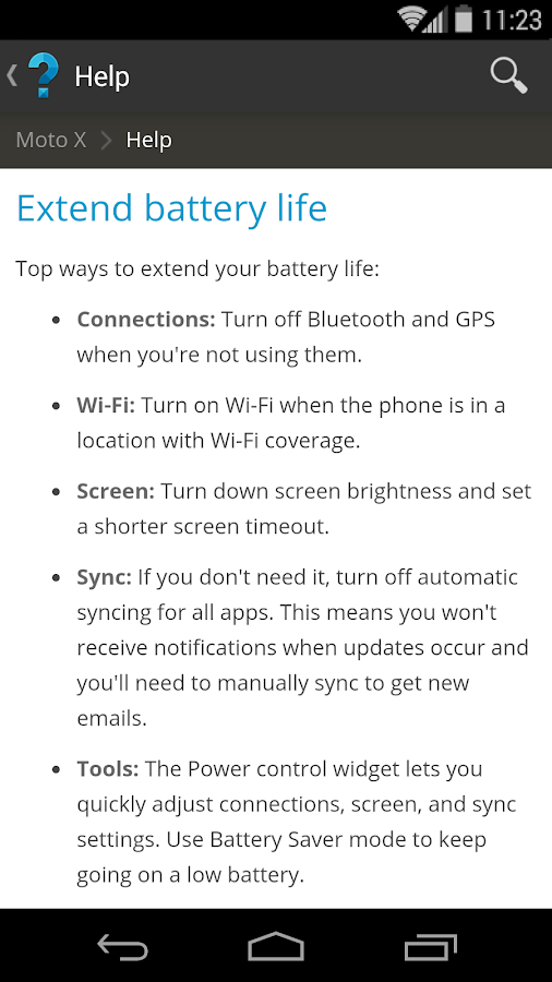 Motorola Help - screenshot