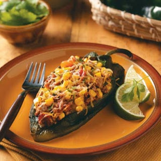 Poblanos Stuffed with Chipotle Turkey Chili