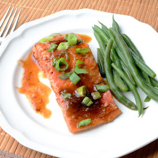 Oven Roasted Salmon with Ginger Soy Glaze.