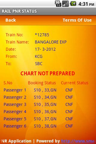 RAIL PNR Status - screenshot