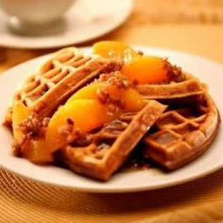 Sweet Potato Pecan Waffles with Praline Peaches
