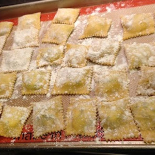 Homemade Ravioli with Ricotta Cheese and Spinach Filling.