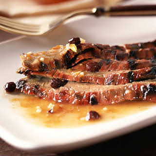 Barbecued Flank Steak with Chutney-Bourbon Glaze.
