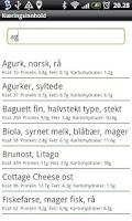 Screenshot of Næringsinnhold