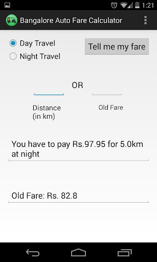 Bangalore Auto Fare Calculator