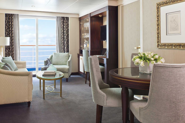 The Grand Suite aboard Seven Seas Navigator features 687 to 739 square feet of luxury: king bed, 1 1/2 marble bathrooms, private balcony, expansive living room, walk-in closet with safe, flat screen TV, mini-bar, personal butler and more.