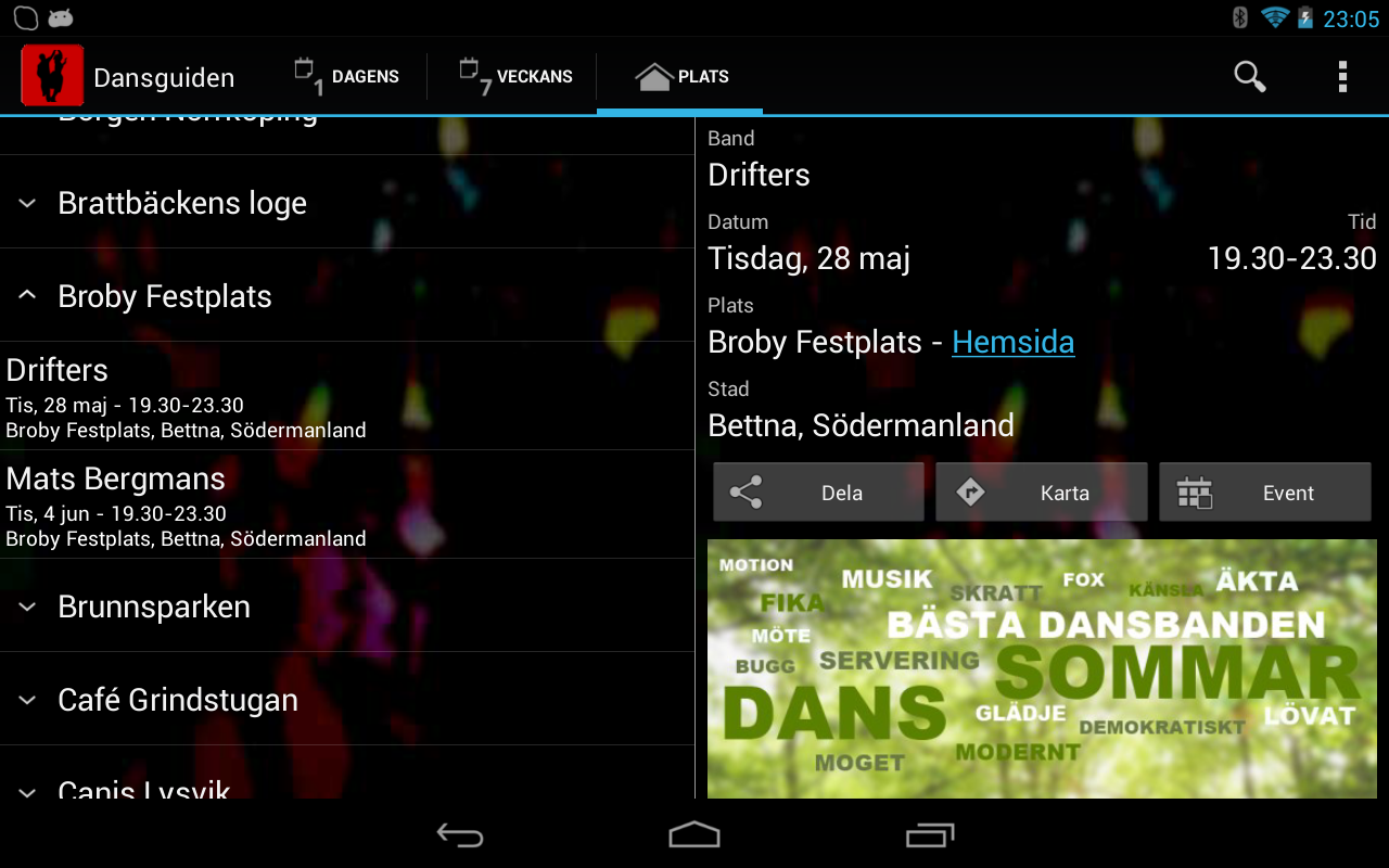 Dansguiden- screenshot