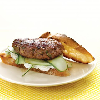 Lamb Burgers with Feta Sauce and Cucumbers.