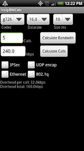 Voip Bandwidth Calculator - screenshot thumbnail