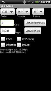 Voip Bandwidth Calculator - screenshot thumbnail