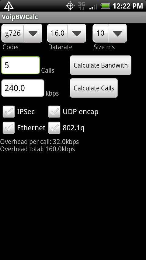 Voip Bandwidth Calculator - screenshot