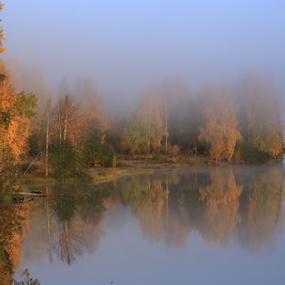 Morning fog by Elisabeth Johansson - Landscapes Waterscapes ( water, sweden, boden, fog, autumn, norrland, leaf, sun )