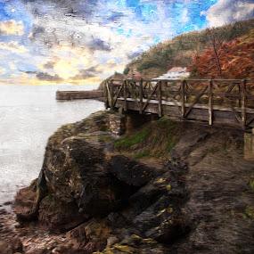 Babbacombe on canvas by JCstudios by John Cuthbert - Mixed Media All Mixed Media ( shore, framed print, devon, canvas, sea, jcstudios, seaside, seascape, beach, print, wall art, pier, copy )