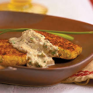 Smoked Trout Cakes with Mustard-Chive Cream Sauce.