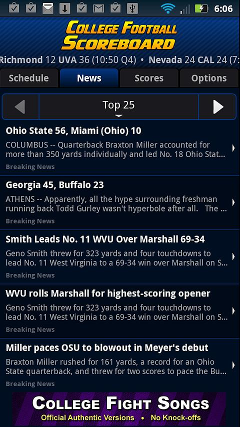 College Football Scoreboard - screenshot