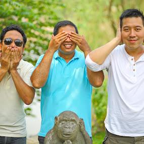 Speak See Hear by Valdy Prawhesmara - People Portraits of Men ( men comedy humor group pack monkey outdoor pleasure )