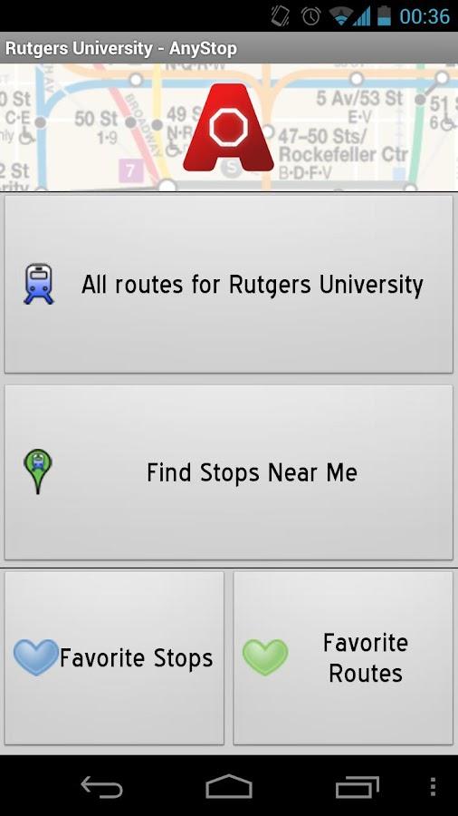 Rutgers Newark Transit AnyStop - screenshot