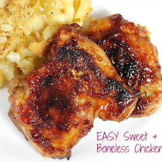 Sweet and Spicy Boneless Chicken Thighs.