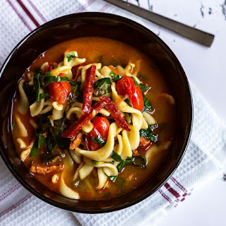 One-Pot Spinach Chorizo Pasta Soup