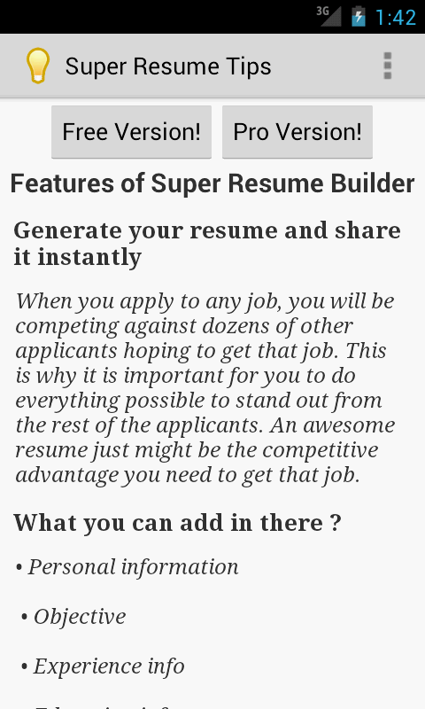 creating a resume android apps on play