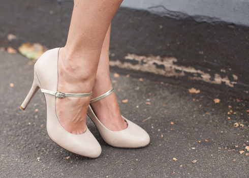 Faded cream soft leather Mary Janes with gold strap