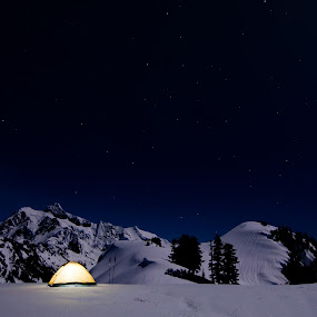 While Mortals Sleep by Joel DeWaard - Landscapes Mountains & Hills ( snowshoe, huntoon, winterscape, shuksan, winter, camping, magical, stars, snow, tent, snowscape, snowshoeing, baker, starscape )