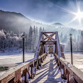 Seven below zero by Florin Ihora - Buildings & Architecture Bridges & Suspended Structures ( winter, cold, frozen lake, pier, sun,  )