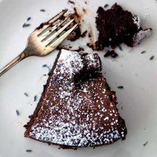 Lavender-Earl Grey Flourless Chocolate Cake
