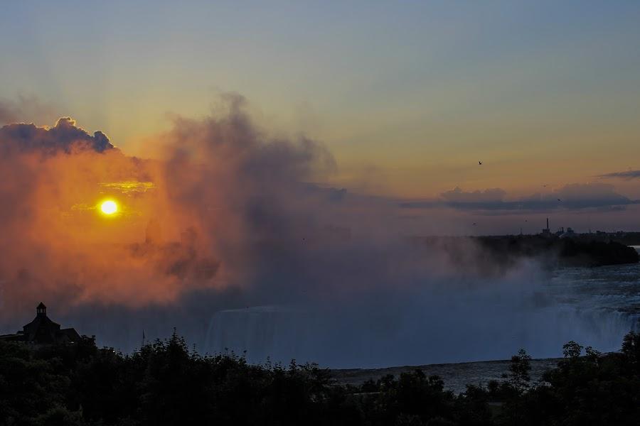 Good Morning, Niagara Falls! by Jamie White - Landscapes Sunsets & Sunrises ( water, niagara falls, sunrise, sun, mist )