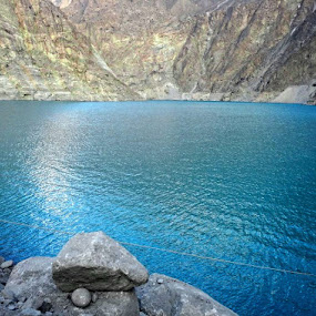 Lake in Mountain by Zahid Saleem - Nature Up Close Water ( water, mountain, blue, green, light, rocks )