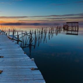 Path to Tranquility by João Freire - Landscapes Travel ( water, clouds, path to tranquility, sunset, palafitte pier, alentejo, carrasqueira, reflections, travel, portugal, landscape, villes, rencontres, continents, découvertes curiosités, personnes, marchés, , reflection )