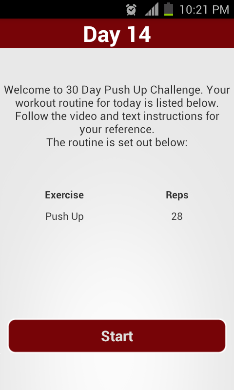 30 Day Push Up Challenge- screenshot