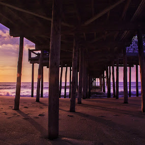God's Creation! by Nicholas Cain - Landscapes Waterscapes ( water, gorgeous, sunrise ocean beach pier gorgeous, colors, pier, ocean, oceancitymd, beach, sunrise )