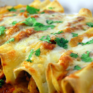 Chicken Enchiladas with Red Chile Sauce.