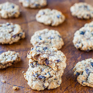 Thick and Chewy Oatmeal Raisin Cookies.