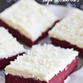 Red Velvet Sugar Cookie Bars with Cream Cheese Frosting.
