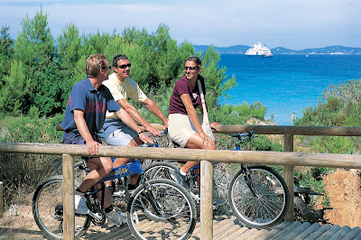 SeaDream provides bikes to guests for exploring interesting destinations on shore.